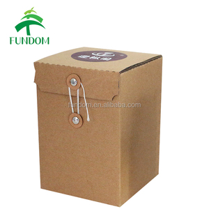 recycled string close square plain brown corrugated custom kraft box for honey bottle packing