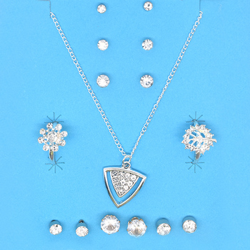 Wholesale china fashion design silver pendant necklace ring earrings crystal jewelry set women