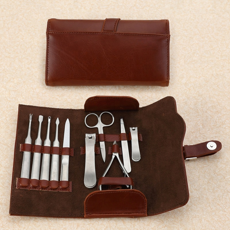 ICEQUEEN new design high quality 10pcs leather pocket manicure set stainless steel Nail clipper kit