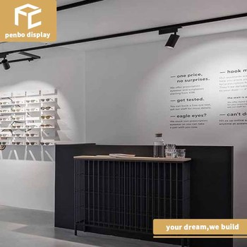 Optik kayu mebel tampilan toko optik desain interior untuk dinding