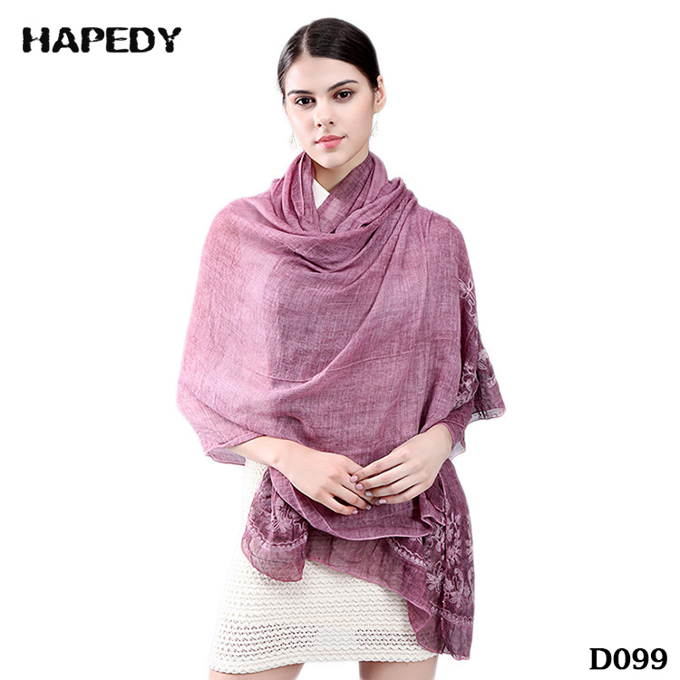 New Arrival Retro Top Quality Embroidery Linen Lace Shawls Muslim Hijab Scarf