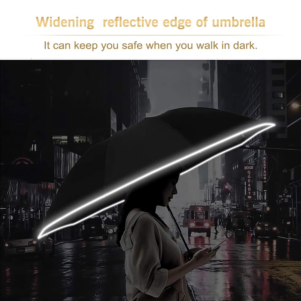 Cheap China made small 12k windproof 3 folding automatic reverse umbrella with reflective strap