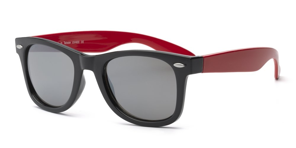 Real Shades Swag Sunglasses for Adults - 100% UVA UVB Protection, Polycarbonate Mirror Lenses, Unbreakable, Iconic 80s Style (Black/Red, Silver Mirror Lens)