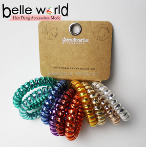 Custom packing invisible plastic spiral hair tie wholesale