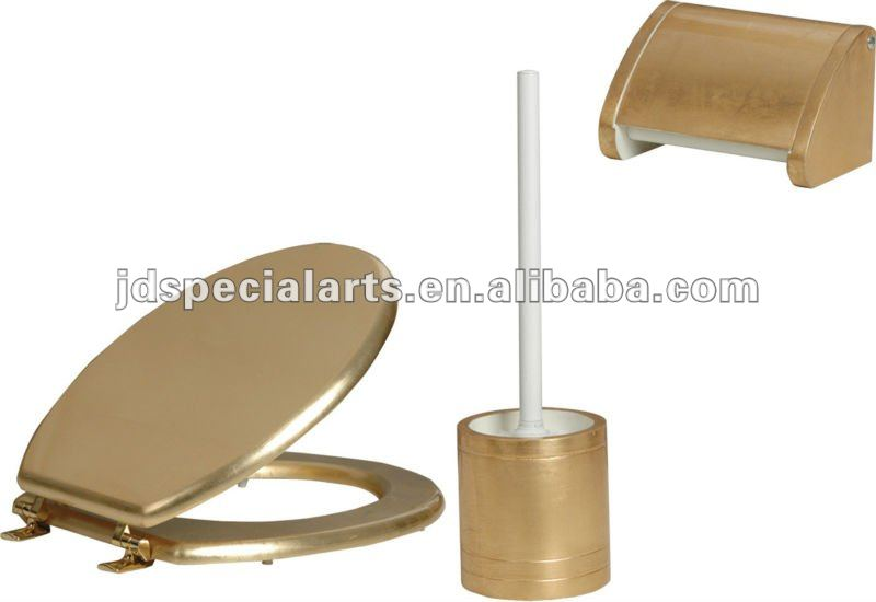 Gold Toilet seat ,paper holder,brush holder,