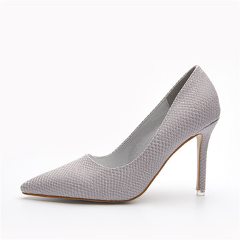 d1041916e4fb Concise Plain Snakeskin Shoes High Heels Pink Grey Black Women Dress Office  Pumps - Buy Office Pumps