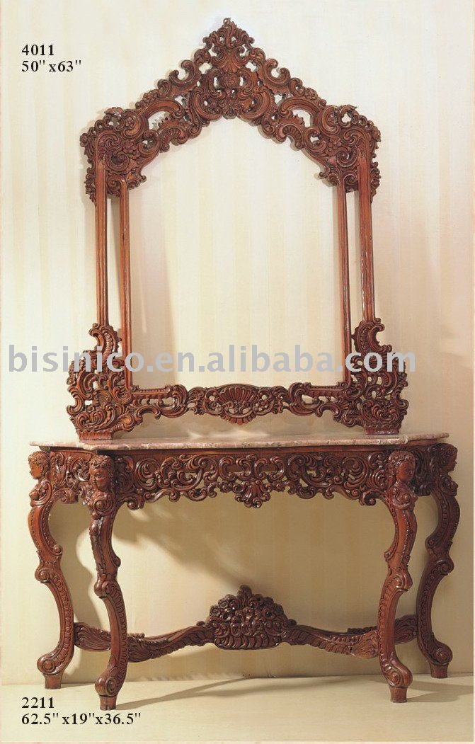 Mirror Tables Furniture. Classical Reproduction Console Table With Mirror,marble  Top Sets,classical