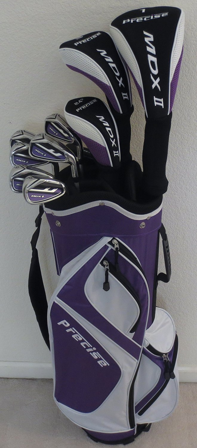 "Ladies Petite Complete Golf Set for Women 5'0""-5'5"" Tall Driver, Wood, Hybrid, Irons, Putter, Clubs Cart Bag"