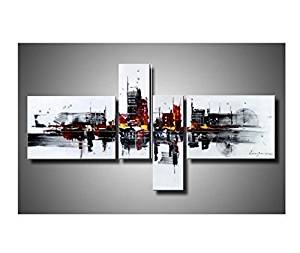 Ode-Rin Art Christmas Gift Hand Painted Oil Paintings War Last Night Memories 4-piece Wall Decoration -16x22Inchx2,8x24Inchx2