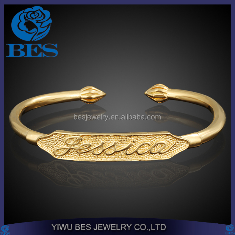 Brass Jewelry Wholesale Letter of Jessica Engraved 18K Gold Plated Cuff Bangle Sex