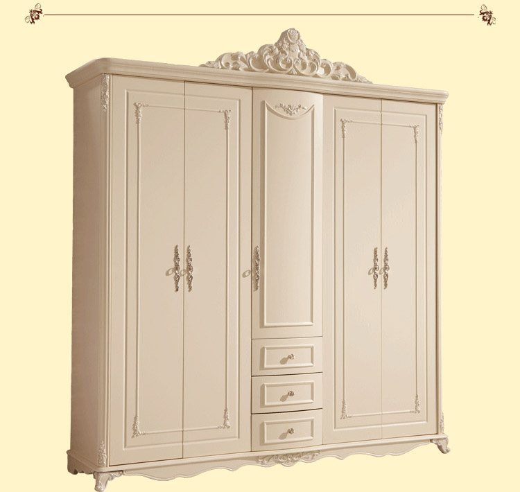 French Style Wardrobe Closet Wardrobe Ivory Carved Five French Bedroom Furniture Wooden Wardrobes