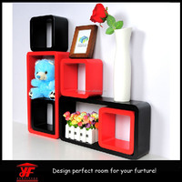 Set of 6 Rectangle Wall Floating Shelves Storage Display Cube Shelf DVD CD Book Stand Holder Units
