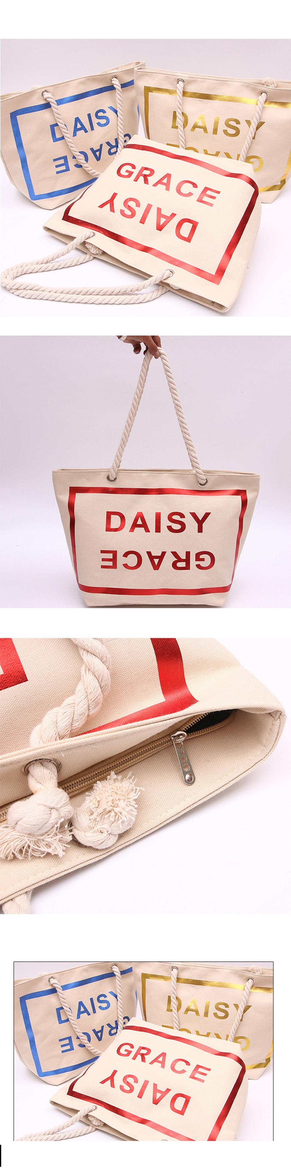 2019 newest words printing promotional canvas handle tote beach bag