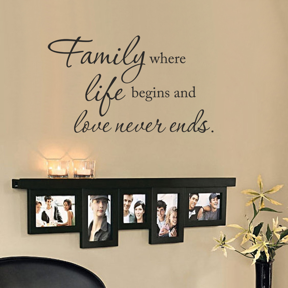 vinyl wall saying family where life begins and love never ends home decor family wall decal 68. Black Bedroom Furniture Sets. Home Design Ideas