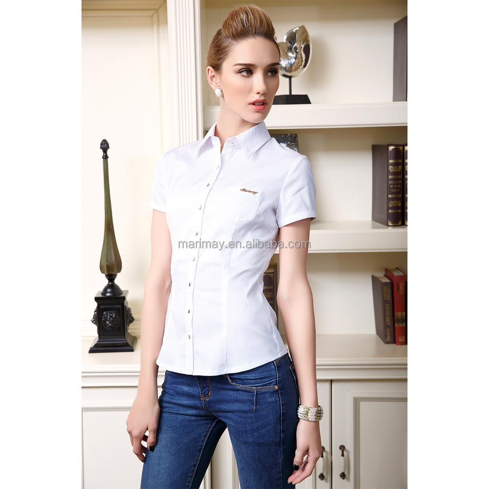 95ff167e72080 La última ropa para mujeres de moda Oficina diseño uniforme camisa formal para  damas ...