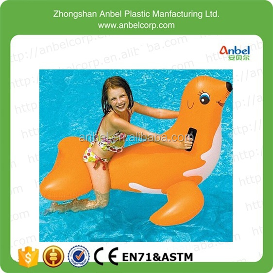 Anbel Promotion Kids Animal Pool Water Toy Giant Inflatable Seal Ride On  Orange For Ages 4