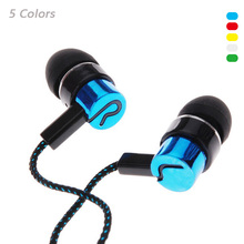 3.5mm In-Ear Wired Stereo game Earphone Noise Isolating Metal Headphone Earbuds Fiber Cloth Line Headset For iPhone Samsung mp3