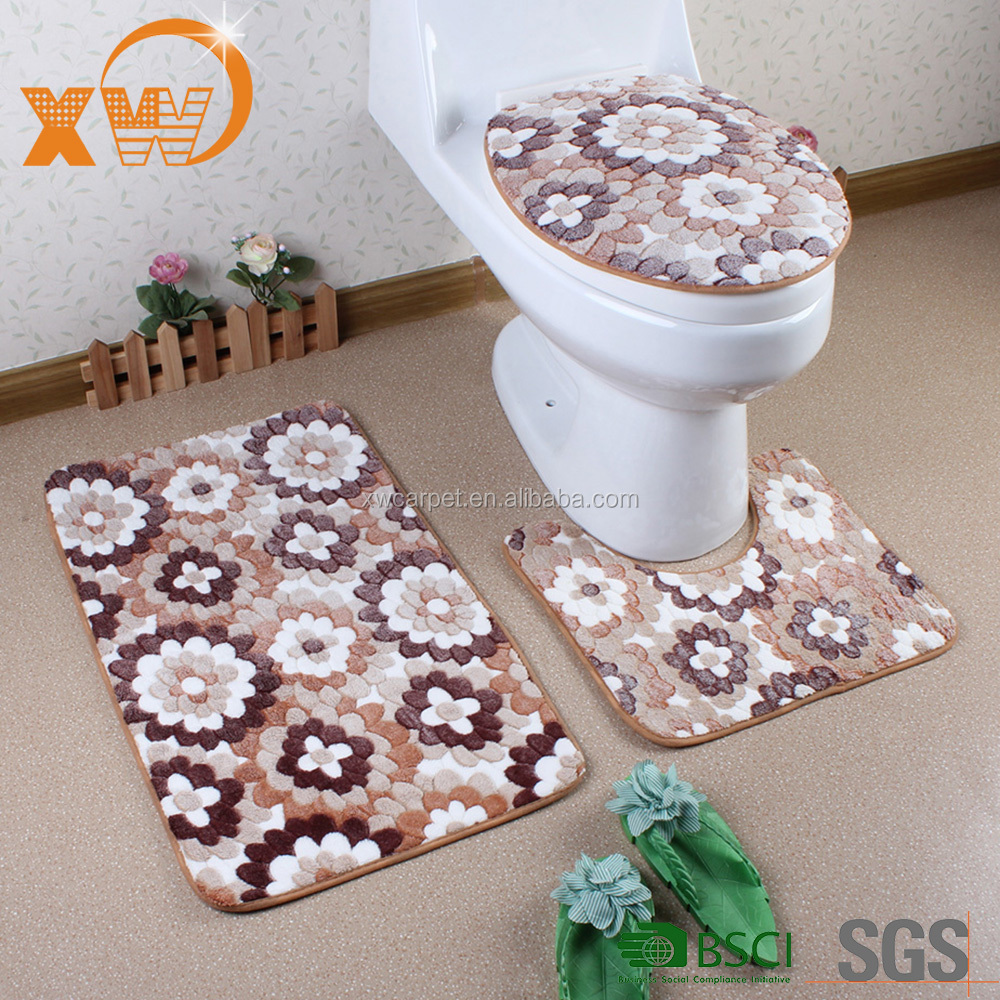 3pcs coral velvet toliet seat/cover toilet set/ cover toilet bath mats