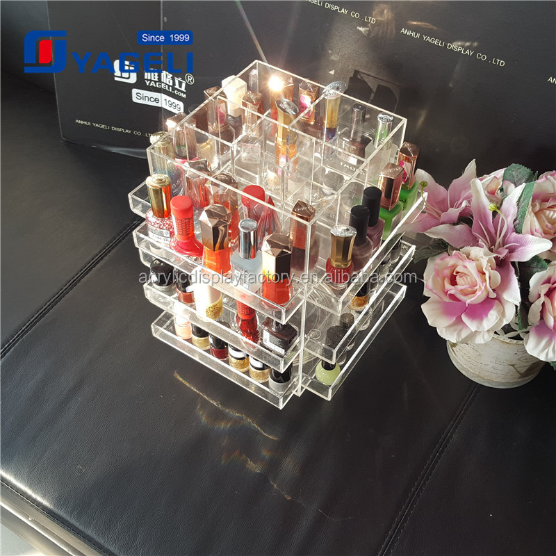 Factory OEM design 3/4/5/6/7 tier acrylic makeup organizer with handle / lipstick organizer 2017