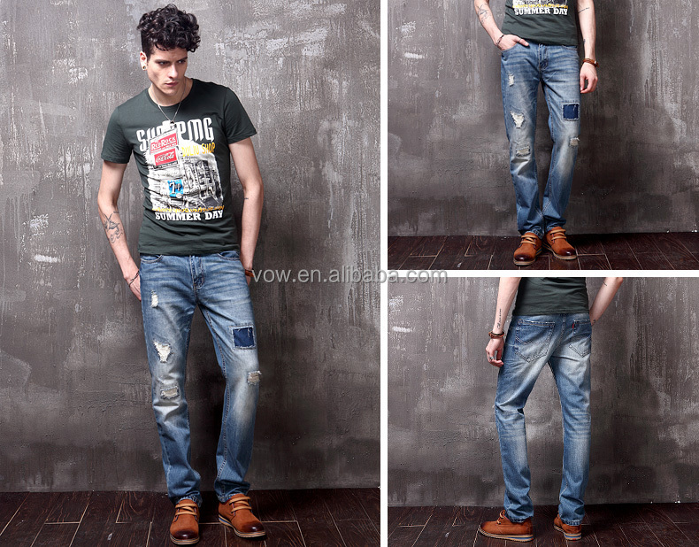 Fashion design men ripped jeans, damaged jeans for men men skinny ...