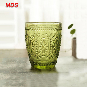 Custom purple embossed decorated glass tumbler for drinking