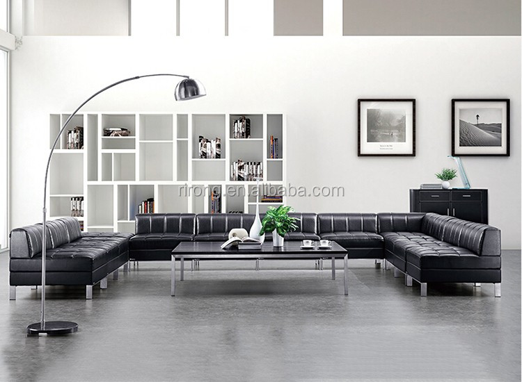Foshan furniture leather living room sofa set u shaped for U shaped living room