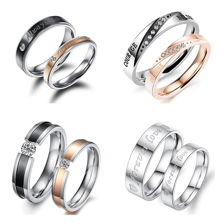Alibaba Online Shop Hot Sale Couple Ring Jewelry Stainless Steel Diamond Ring