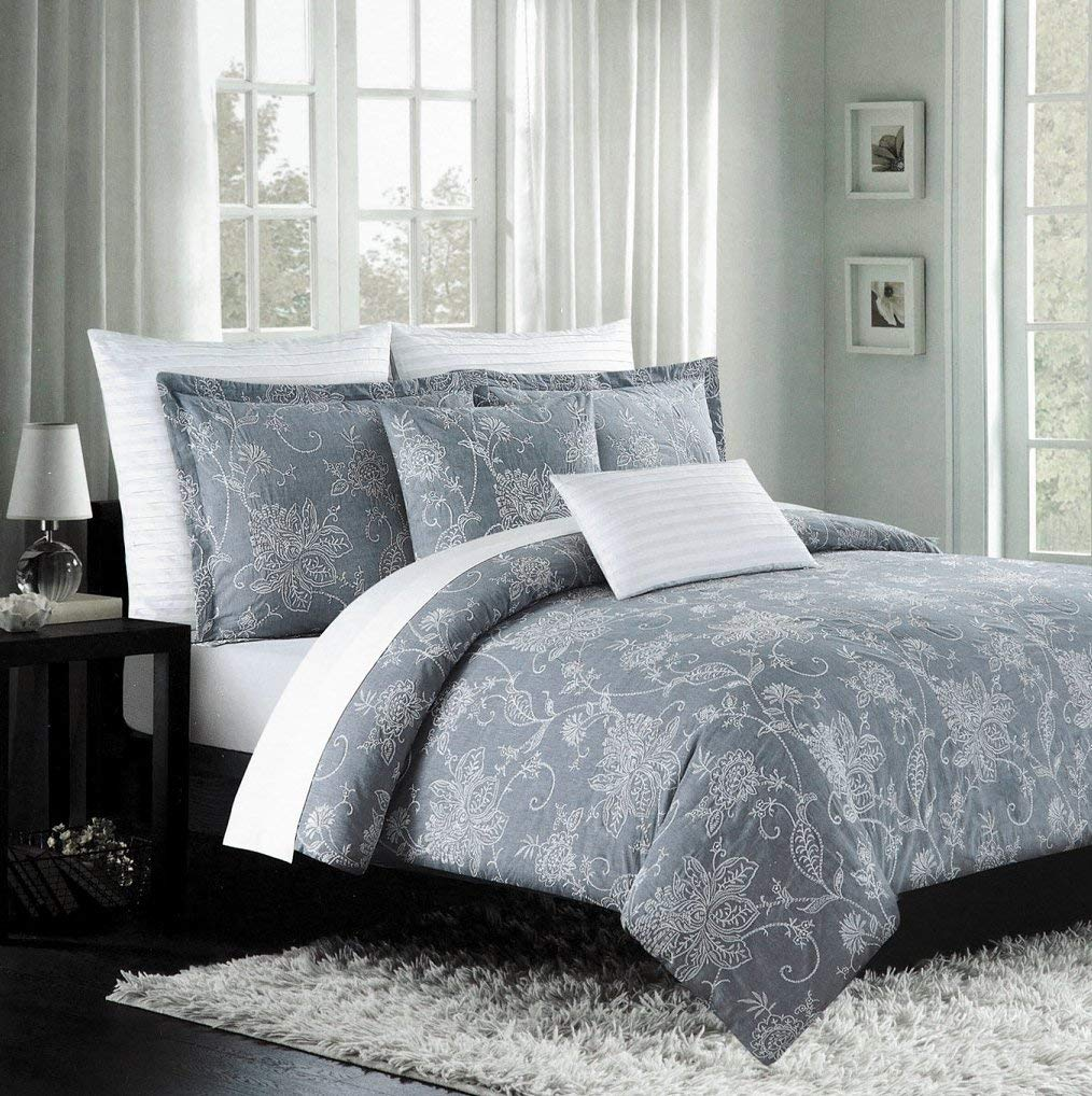 Get Quotations Nicole Miller Luxury Embroidered Duvet Cover Set Gray White Ornate Grey Fl Scroll Design 300tc Cotton