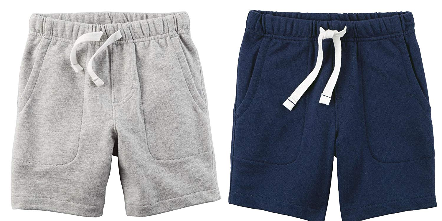 Carters Set of 2 Boys Cotton Pull On Shorts Toddler Little and Big Boys 3T, Navy Blue and Light Heather Grey