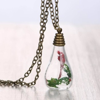 Handmade Real Flower Seaweeds Glass Terrarium Pendant Necklace For