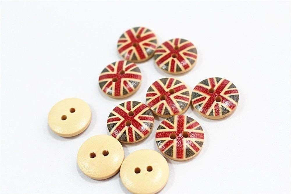 "ShopForAllYou Buttons Craft kit Sewing Decorative Lot of 10 Round UK Flag 2-Hole Wood Buttons 1/2"" (13mm) Scrapbook Craft (1160)"
