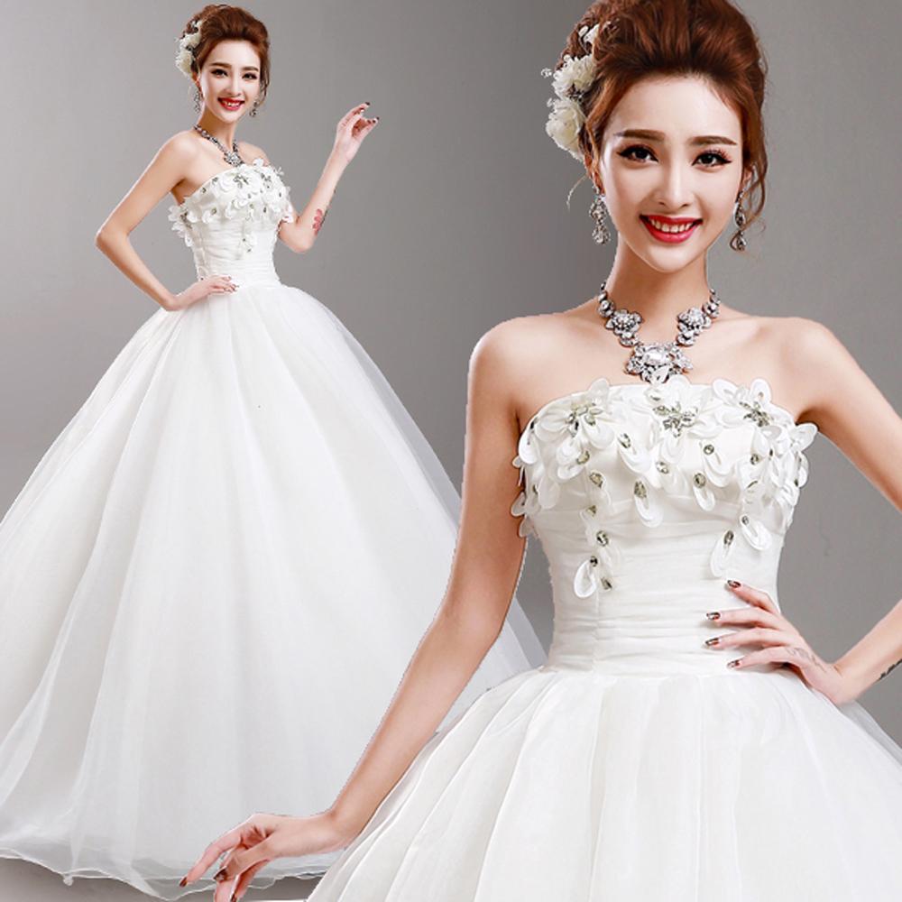 Crystal Tube Top Wedding Dresses 2016 FASHION Princess