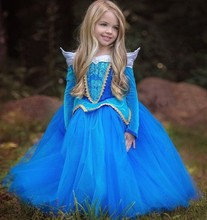 High quality Kids Role Play Clothes Baby Girls Holloween Maxi Party Dress SMR003