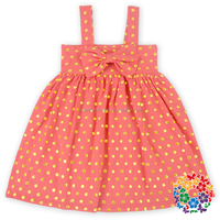 Cheap High Quality Big Bow front Gold dots Cotton Baby dress cutting Toddler Girl Dresses