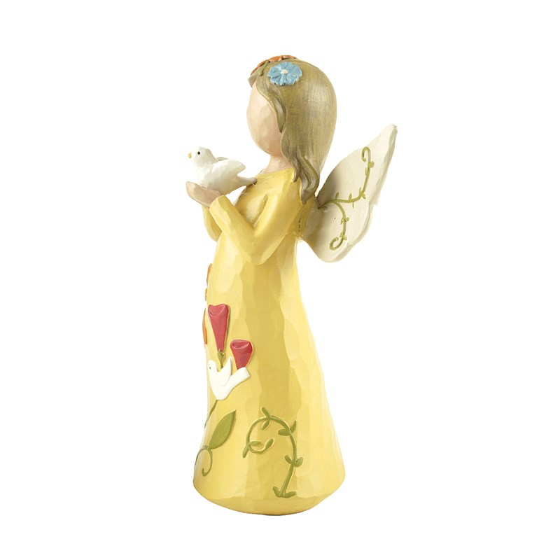 Well designed resin angel figurine holding bird gifts