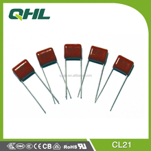 Professonal manufacturing CL21 polyester film DC capacitor/lamp capacitor 100nf 275V