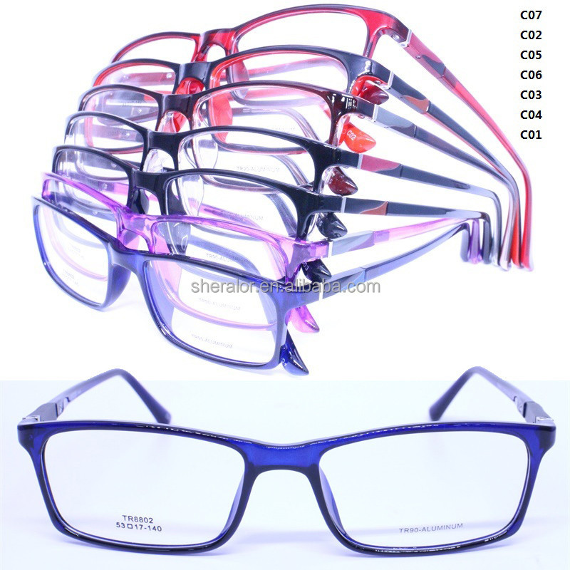 lightweight TR90 combined aluminum arm built-in spring hinge rectangle shape bicolor eyewear frames for young man