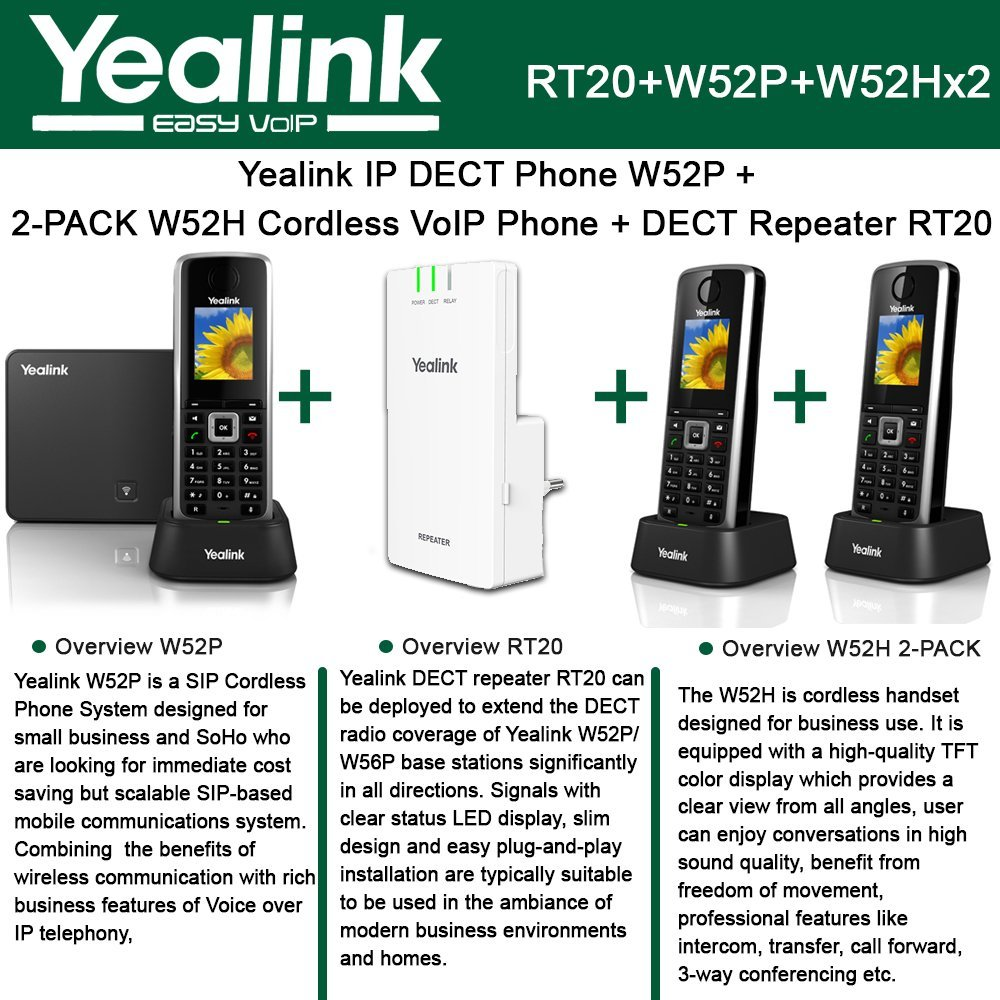 Yealink W52P IP DECT Phone + 2PACK W52H Cordless VoIP Phone + DECT Repeater RT10