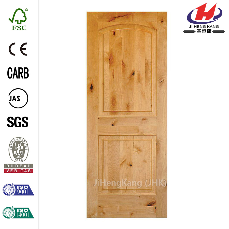 36 in. x 80 in. Rustic Knotty Alder 2-Panel Top Rail Arch Solid Wood Core Left-Hand Single Prehung Interior Door