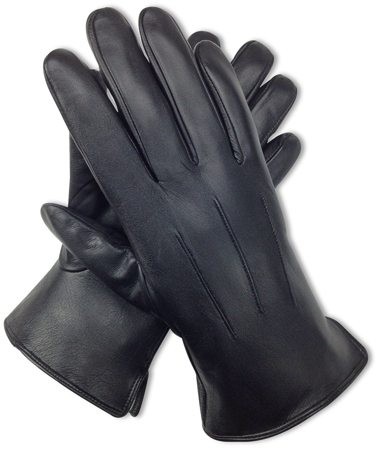 96e83a364b591 Get Quotations · Bleu Nero Luxury Soft Men's Leather Gloves – Genuine Nappa Sheepskin  Leather with Black Rabbit Fur