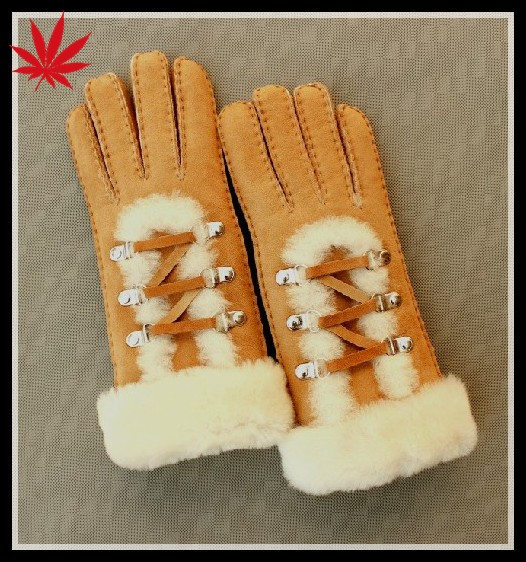 Lovely and sweet girls gift double face leather glove