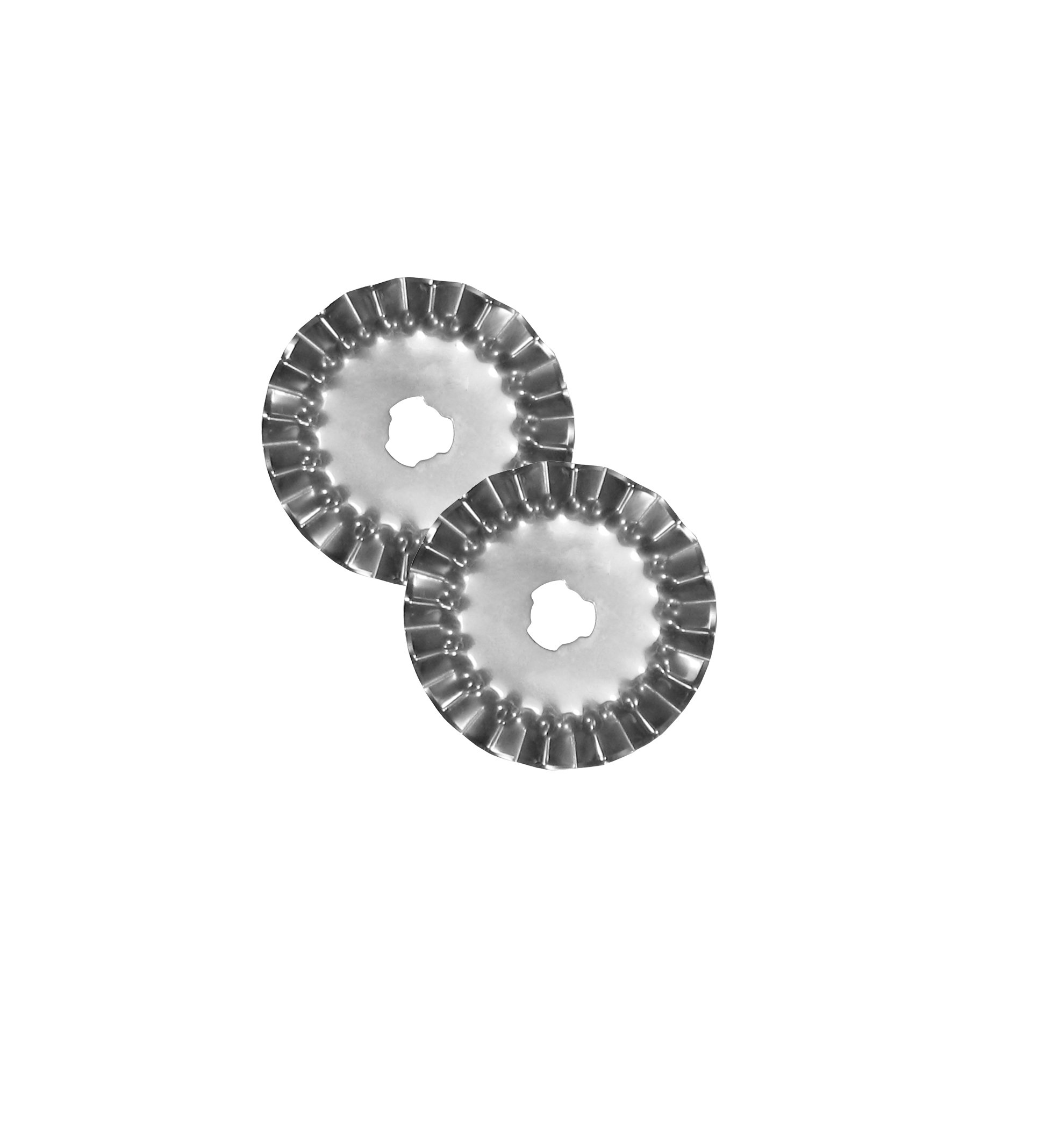 45mm Decorative Rotary Cutter Blades RIGHT HANDED, Pinking (2 Blades), for OLFA, FISKARS, Clover and other Cutters for Quilting, Scrap booking, leather, Vinyl etc from Threadnanny