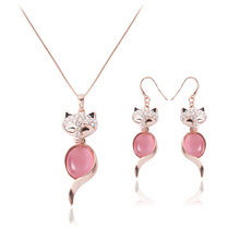 Wholesale Rose Gold Cute Fox Pendant Necklace Earring Set Pink Crystal Cat Eye Stone Animal Pendant Jewelry Set