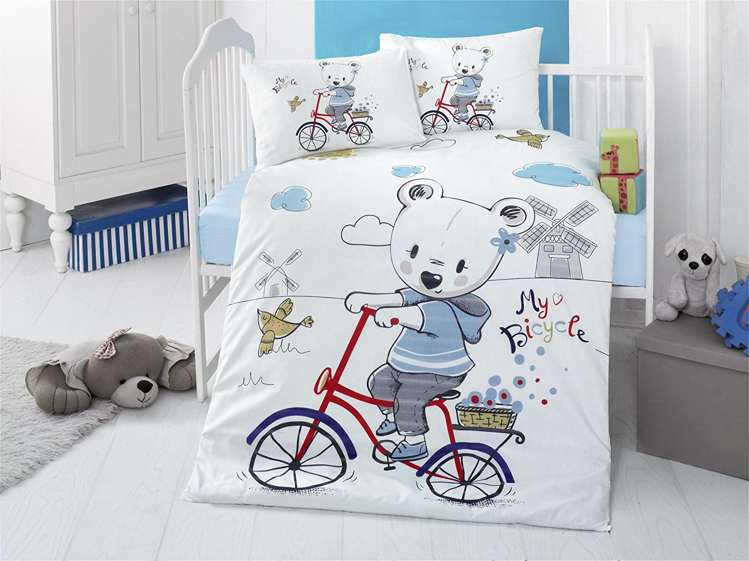 LaModaHome 5 Pcs Baby My Bicycle Bird Farm Playing Bear Casual Blue Happy Toddler Cotton Bedding COTTON COMFORTER Set, Turkey 100% Cotton Nursery [with COTTON Quilt/Comforter]