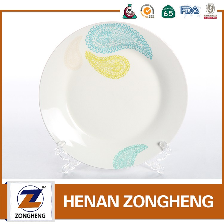 Stock Inventory white ceramic porcelain plate with design
