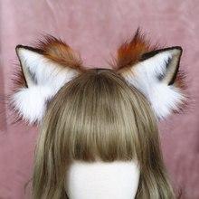 Ободок для волос ручной работы с ушками животных, ободок для волос с ушками красной лисы, аксессуары для волос для девочек и женщин, LOL, костю...(Китай)