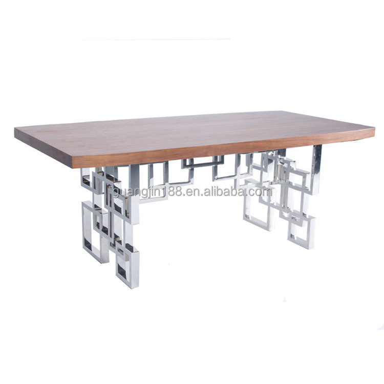 modern stainless steel dining table with chrome dining table legs