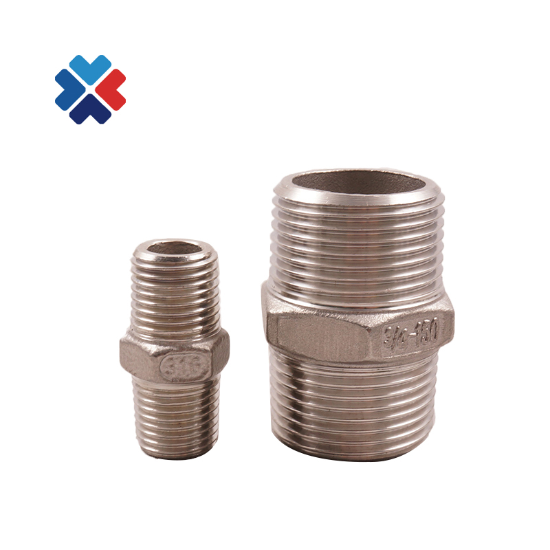 stainless steel 316 pipe <strong>fittings</strong> 1/4&quot; screwed hex 150lb double thread pipe nipple
