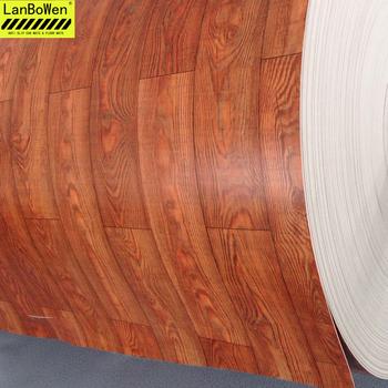 Wooden Look Wood Grain Anti Slip Waterproof Pvc Vinyl Sheet Floor Mat In Roll