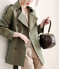 Women's short double-breasted fashion trench coat